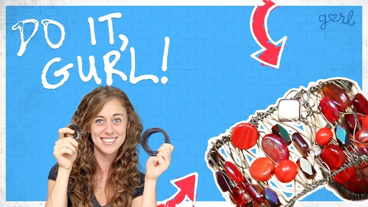 Do It, Gurl - Wire & Beaded Cuff Bracelet