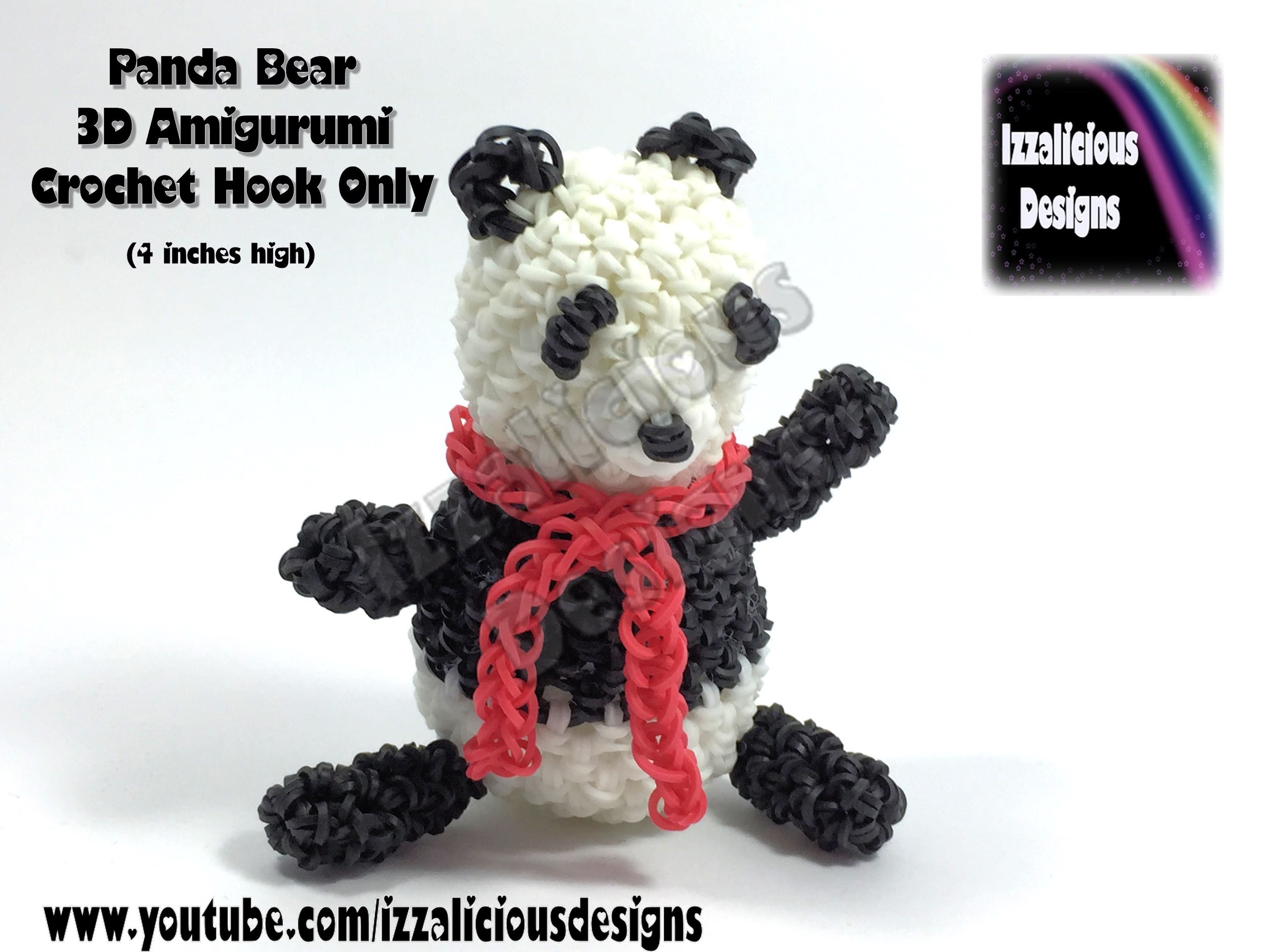 Rainbow Loom 3D Panda Bear Amigurumi.Loomigurumi Figure.Doll.Toy - Hook Only Loomless (Loom-less)