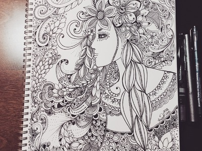 Zentangle inspired woman doodle - flowers