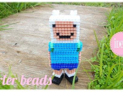 3D Finn the Human (Adventure Time) in Perler Beads