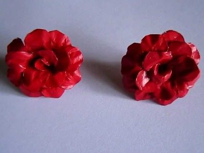 Handmade Jewelry - Paper Rose Earrings (Maroon Red)