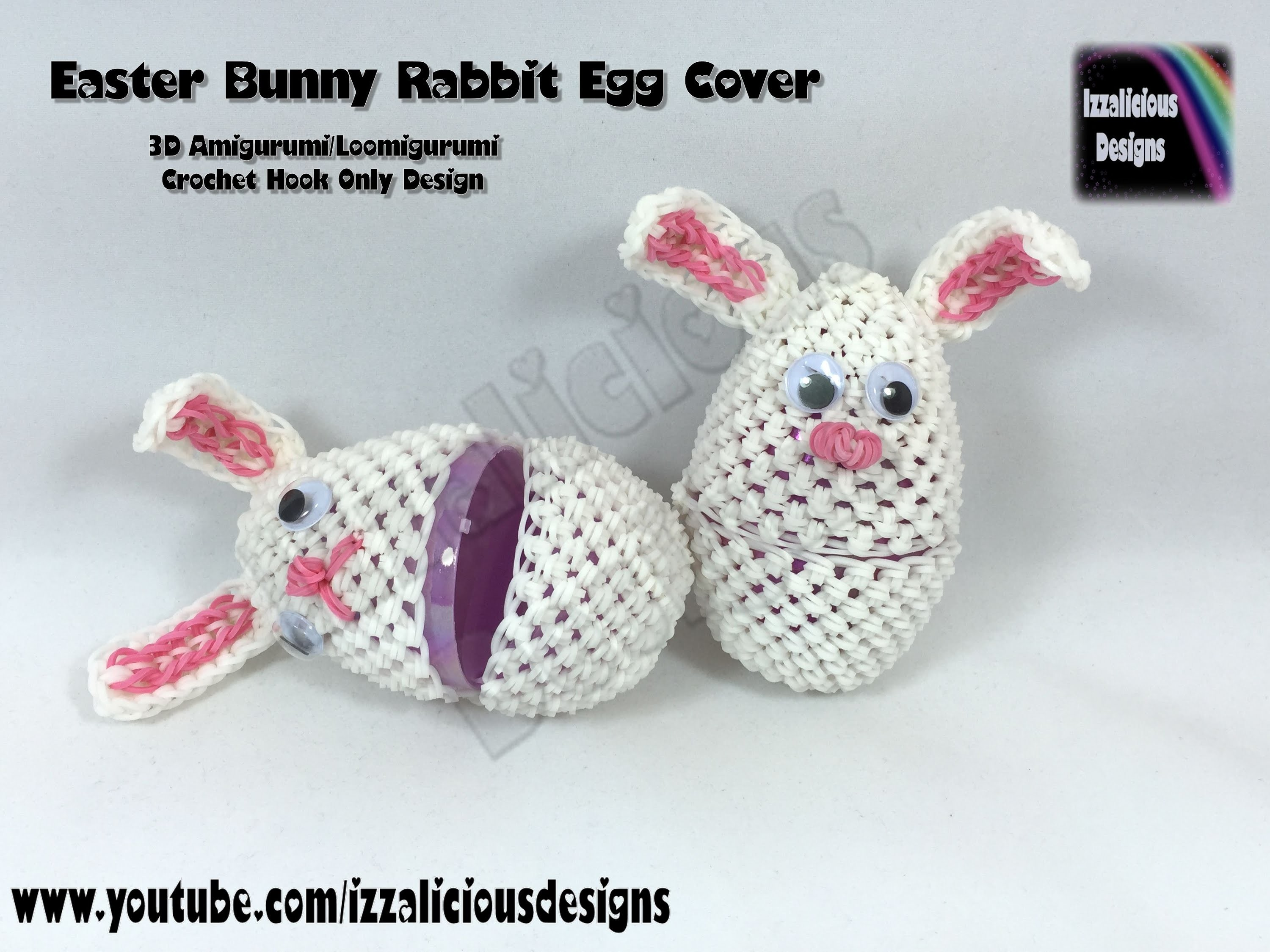 Rainbow Loom 3D Amigurumi.Loomigurumi Easter Bunny Rabbit Egg Cover - Loomless