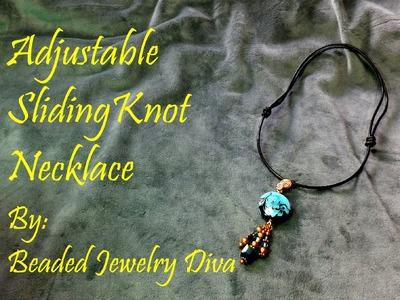 Sliding Knot Tutorial - How to Make a Sliding Knot Adjustable Necklace