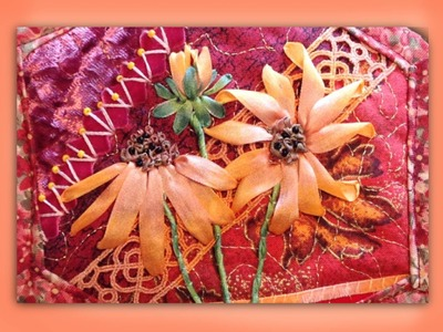 How to make a silk ribbon embroidered rudbeckia flower group