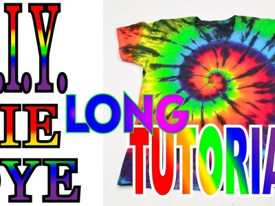 How to Tie Dye a Rainbow & Black Spiral Shirt [Long DIY Tutorial] Version 3