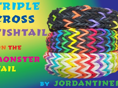 Triple Cross Fishtail Bracelet - Monster Tail - Rainbow Loom