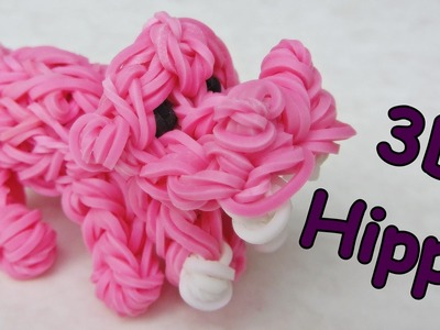 Rainbow Loom 3D Hippo Charm - how to make with loom bands