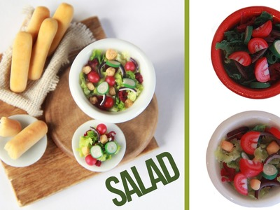 Salads - How to make a miniature salad - Tomatoe - Cucumber - Red Onion - Breadsticks - Polymer Clay