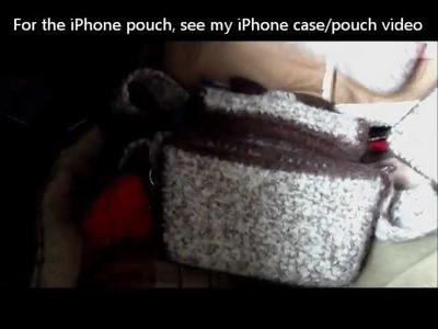 Felted Crochet checkbook purse, coin purse wallet, iPhone case set