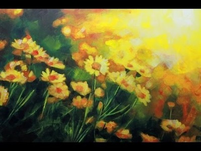 How to paint a Field of Flowers: Acrylic Landscape painting Lesson. | Daisies Field by Samuel Durkin