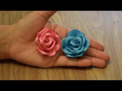 Make Rose Flower from Satin Ribbon.DIY.