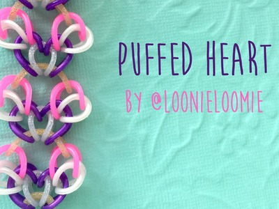 Rainbow Loom Bands Puffed Heart by @LoonieLoomie