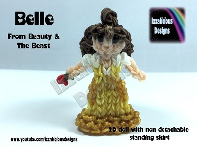 Rainbow Loom Belle (Beauty & The Beast) Princess Action Figure.Charm - 2D Standing Doll