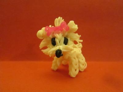 Rainbow Loom Maltese Dog or Puppy Charm. 3-D.