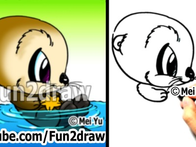 Cartoon Drawing Tutorials - How to Draw an Otter - Draw Animals - Easy Drawings - Fun2draw