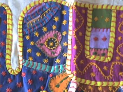 COLOURFUL Indian elephant patchwork bedspread.wmv