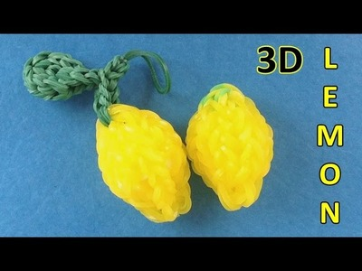 Rainbow Loom: 3D Lemon Charm || How to make charms with loom bands Instructions (Monstertail)