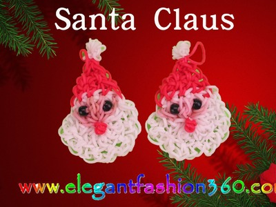 Rainbow Loom Santa Claus 2D Charms- How to Loom Bands Tutorial.Christmas.Holiday.Ornaments