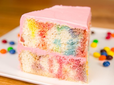 Skittles Poke Cake w. Skittles Buttercream (My Cupcake Addiction Collab)