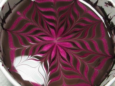 Black & Wine Water Marble Nail Art Tutorial