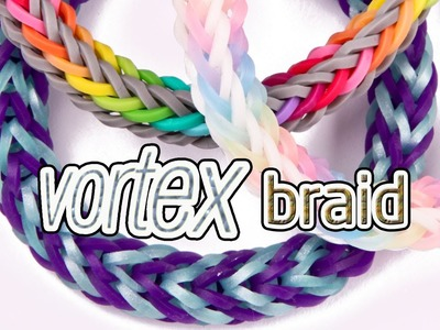 How to Make a Vortex Braid Rainbow Loom Bracelet - EASY #justinstoyshybrid Design
