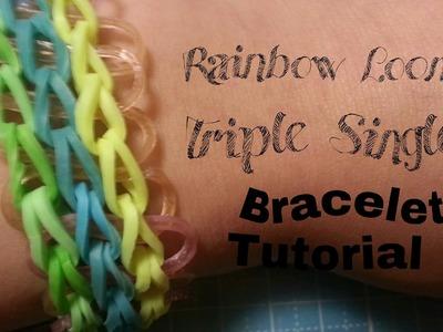 (New Method) Rainbow Loom Triple Single Bracelet  Crafty Mints