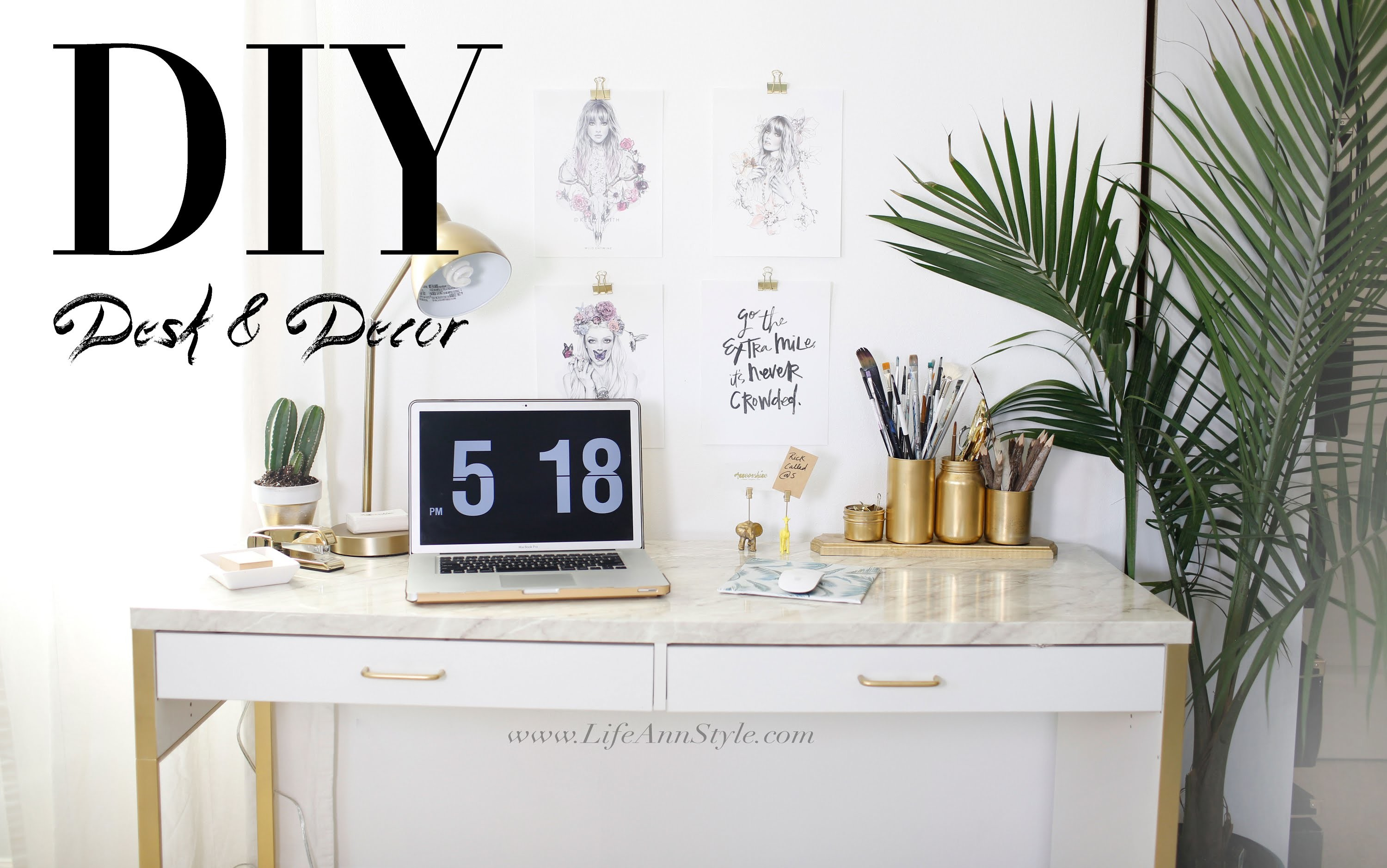 5 EASY DIY Desk Decor & Organization IKEA Hacks | ANNEORSHINE