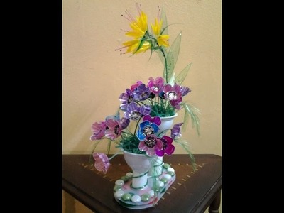 Best Out Of Waste Plastic Egg tray transformed to Colourful Flowers Showpiece