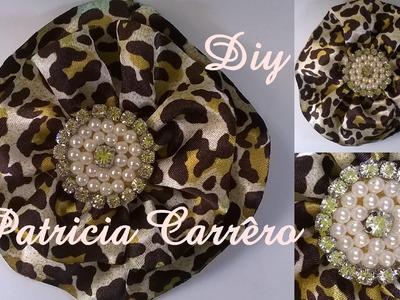 Flor de cetim com pérolas e strass DIY \ Satin flower with pearls and rhinestones DIY