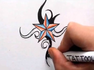How To Draw a Nautical Star - Shading in Color and Tribal Design