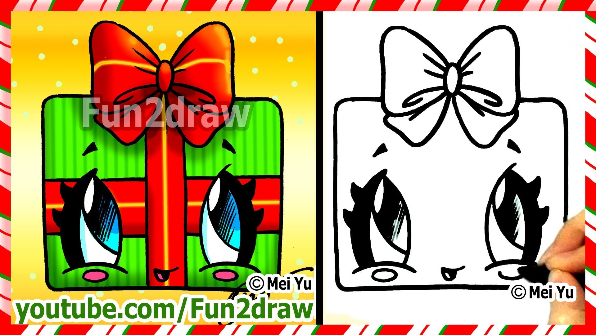 How to Draw Christmas Presents - Kawaii Gift with Bow - Fun2draw