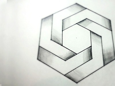 How To Draw Optical Illusions - Hexagon | DearingDraws