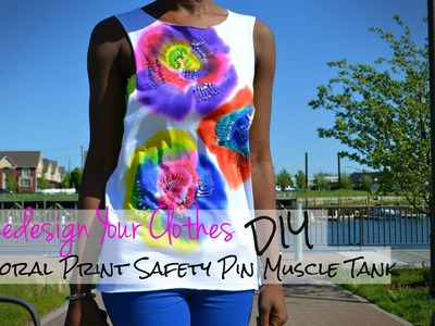 (RYC) 6:DIY Floral Print Safety Pin Muscle Tank