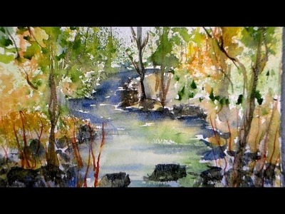 Spring stream watercolor tutorial