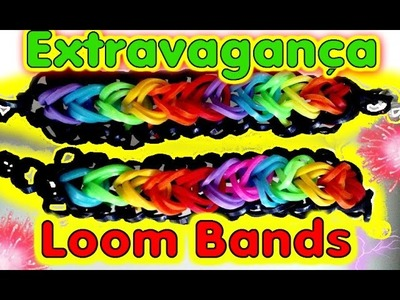 VIDEO Pulseira de Elásticos EXTRAVAGANÇA ARCO IRIS #Rainbow Loom Bands | Tutorial HD