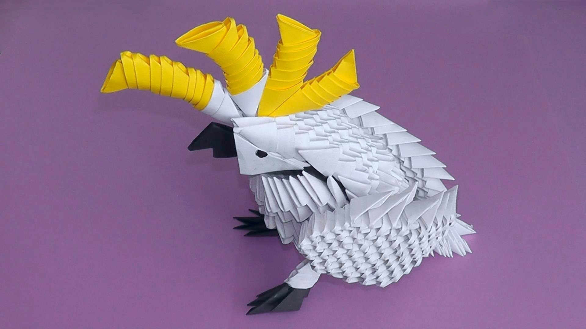 3D origami cockatoo parrot tutorial (instruction)