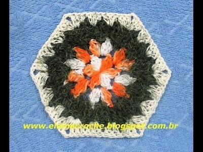 CROCHE - SQUARE HEXÁGONO FLORES MIX