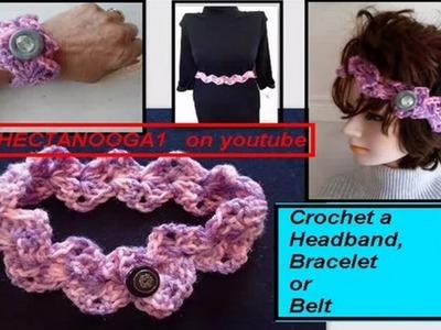 Crochet:  ZIG ZAG CROCHET HEADBAND, BRACELET, BELT,