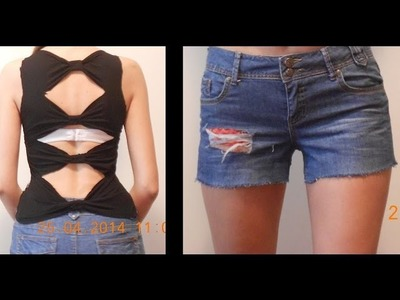 DIY ideas: Upcycle your old tshirt and short jeans