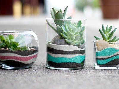 DIY Layered Sand Succulent Planter