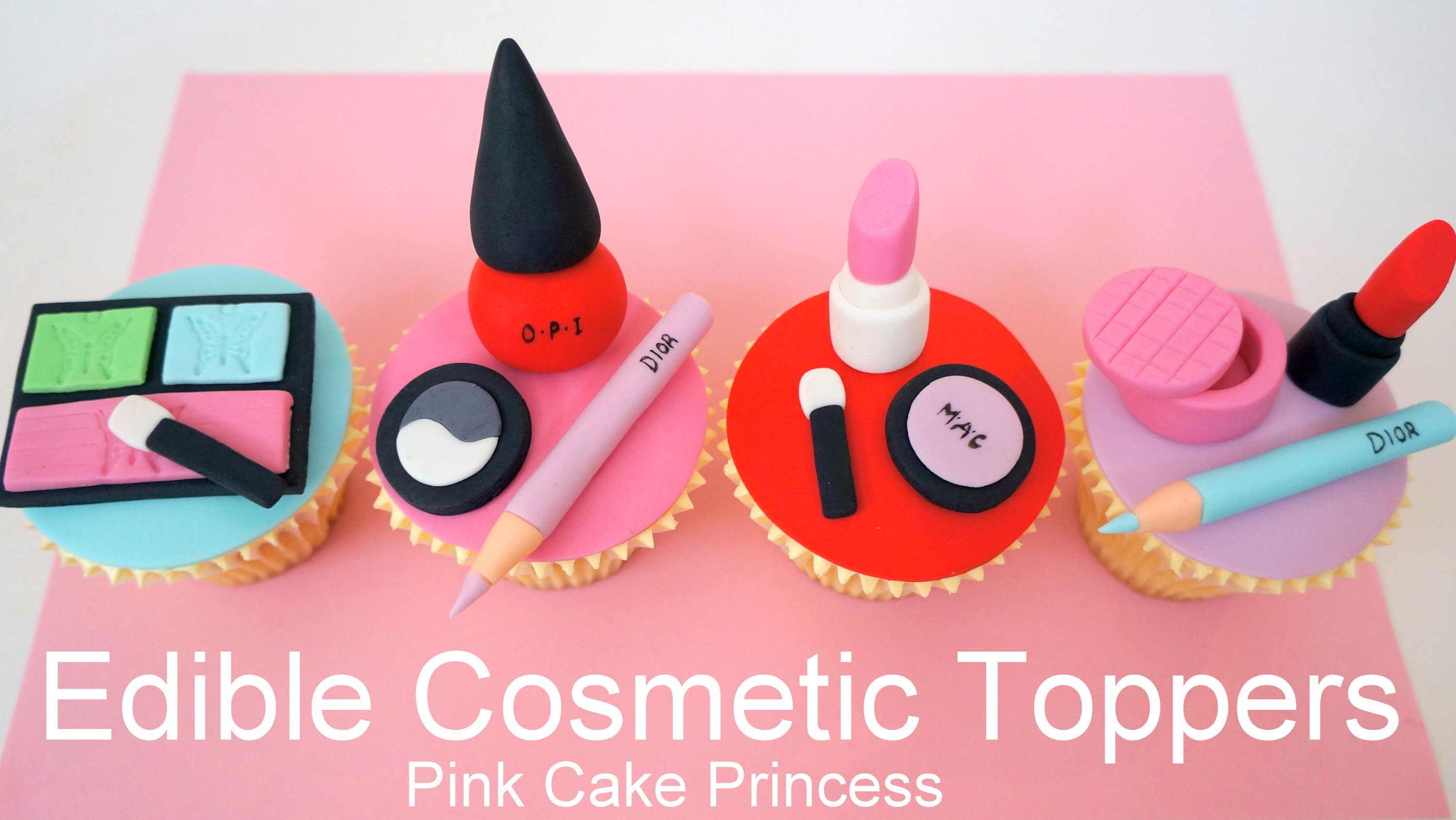 Edible Makeup Cake Toppers - How to Make Cosmetics Cake Toppers by Pink Cake Princess
