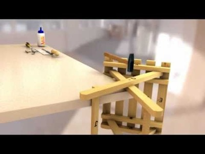 Folding Stool - 3D CAD rendered video showing the construction of a folding stool.