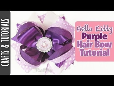Hello Kitty Inspired Purple Hair Bow Tutorial!