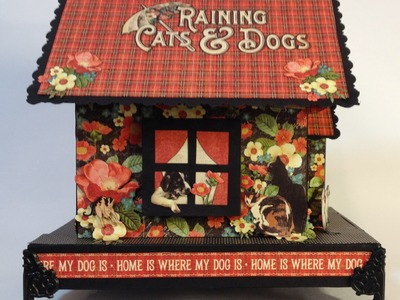 How to make a chipboard dog house mini album holder part 1