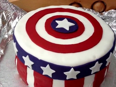 How to make a fondant captain america birthday cake  the avengers 1st cake I've ever made