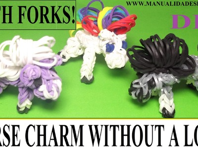 HOW TO MAKE HORSE CHARM WITH 2 FORKS. WITHOUT RAINBOW LOOM. DIY