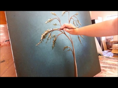 How to paint a tree with white blossoms