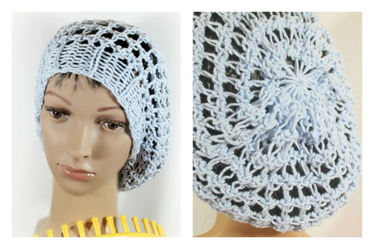 LOOM KNIT HAT Three Step Stitch Slouchy Beanie Snood Hat on any Extra Large Knitting Loom