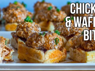 Low-Carb Hi-Protein Chicken & Waffle Bites. Meriendas de Pollo y Gofres