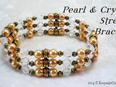 Pearl & Crystal Stretch Bracelet Tutorial